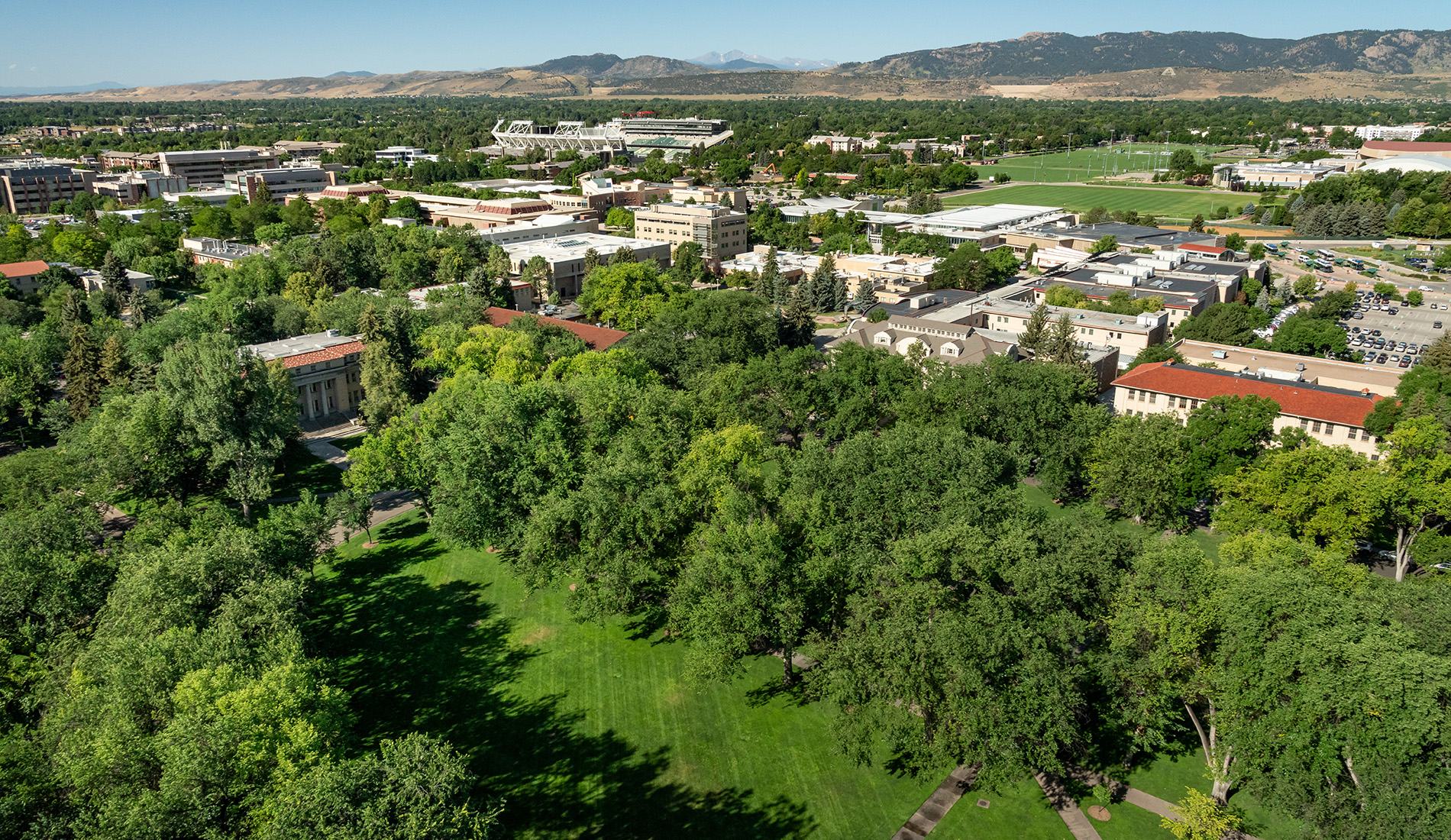 Aerial view of Colorado State University Oval